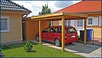 Carport mit Flachdach und Holzblende (inkl. Abstellraum)