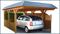 Carport mit Flachdach und Landhausblende (Schiefer)