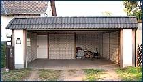 Carportgarage mit Flachdach und Pfannenblende, 2 Stellplätze